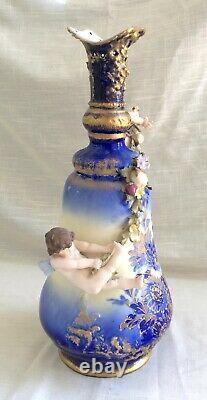 Antique Art Nouveau Depose Ernst Wahliss Turn Weir Porcelain Vase Austria