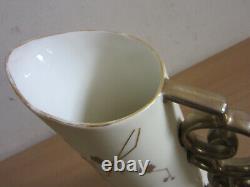 Antique Art Nouveau IMPERIAL Austrian Pottery vase pitcher with flowers 11.5