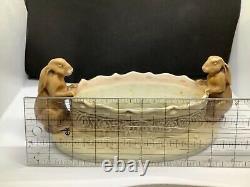 Antique Art Nouveau Imperial Austria Amphora Bowl Dish with Rabbit Handles