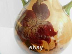 Antique Art Nouveau Julius Dressler Double Gourd Twin Handles Vase With Orchid
