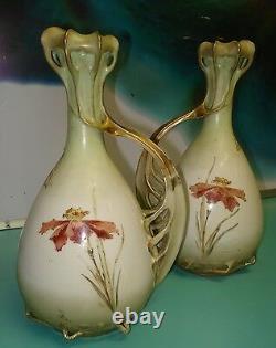 Antique Art Nouveau Porcelain Austrian German raise gold gilt vases Mitterteich