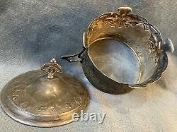 Antique Art Nouveau Silverplate Candy Bonbon Jar Basket Sugar Container Bowl&Lid