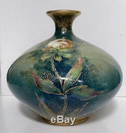 Antique Artist Signed Amphora Turn Teplitz Austrian Art Nouveau Pottery Vase