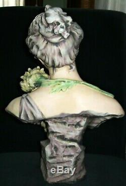 Antique Austria Amphora Rstk Teplitz Beauty Lady Goddess Porcelain Bust Figurine