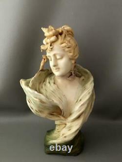 Antique Austria Art Nouveau Rstk Turn Teplitz Bohemia Porcelain Large Lady Bust