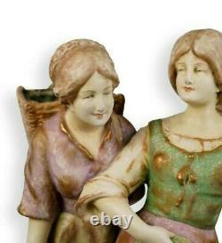 Antique Austrian AMPHORA Huge porcelain group. 24 H