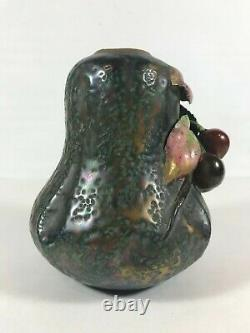Antique Austrian Amphora Vase Teplitz Art Nouveau Cherries High Relief 1900 5.5