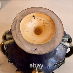 Antique Austrian Art Nouveau Four Handled Amphora Pottery Vase circa 1900