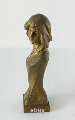 Antique Austrian Art Nouveau Gilt Ormolu Bronze Female Bust Franz Gruber Signed