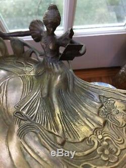 Antique Austrian Bronze Art-Nouveau 12 Vanity Pin Dresser Tray Woman Mirror