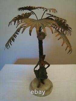 Antique Austrian Bronze Dancing Woman Under Palm Tree Lamp