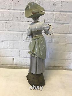 Antique Austrian Ernst Wahliss Alexandra Porcelain Large Woman in Hat Figurine