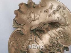 Antique Austrian Gilt Bronze Art Nouveau DishGeschutzt BergmanPond SceneVGC