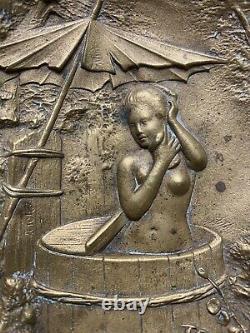 Antique Austrian Japonaiserie Nude Geisha Bathing Bronze Signed Berndorf Tray