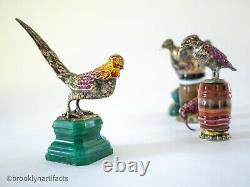 Antique Austrian Jeweler Art Bird Figurine / Statue Sterling Silver & Gem Stone