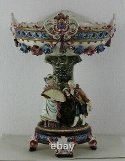 Antique Austrian Majolica Planter Centerpiece Romantic scene C. 1900