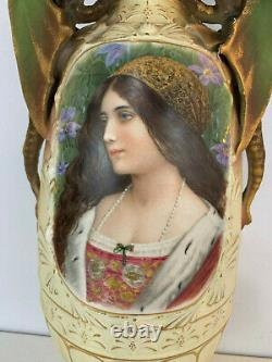 Antique Austrian Robert Hanke Royal Wettina Pottery Portrait Vase Dragon Handles