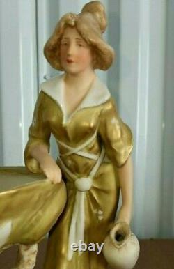 Antique Austrian Royal Dux Porcelain Little Centerpiece, 9 x 8.5