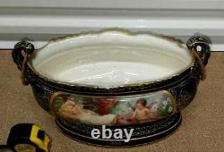 Antique Austrian Royal Vienna Porcelain Jardiniere, 9 high x 14 wide