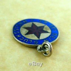 Antique Austrian Silver Enamel This Be Your Lucky Star Charm Pendant