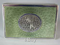 Antique Austrian Solid Silver Hallmarked Green Guilloche Enamel Box Circa 1899