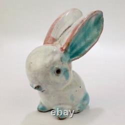 Antique Austrian Terracotta Pottery Rabbit Figurine by Walter Bosse for Kufstein