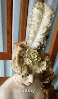 Antique Austrian Turn Leplitz Style Woman Sculpture, 16 H