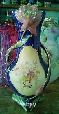 Antique Austrian amphora Majolica Art Nouveau vase