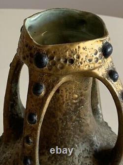 Antique Beautiful Art Nouveau Imperial Amphora Austria Large Gilded Jeweled Vase