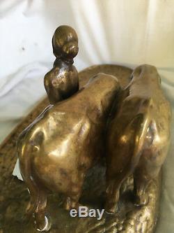 Antique Bronze Ganre Sculpture By P. Tereszczuk Austrian-ukrainian, 1895-1925