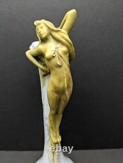 Antique Ernst Wahliss Amorpha Art Nouveau Vase Ewer with Gold Nude / Maiden