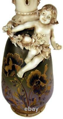 Antique Ernst Wahliss Amphora Wien Teplitz Art Nouveau Vase with Applied Cherub