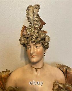 Antique Ernst Wahliss Art Nouveau Depose Amphora Woman Porcelain Bust Austria