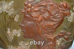 Antique Ernst Wahliss Art Nouveau Female Terracotta Relief Plaque Turn Wein