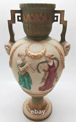 Antique Ernst Wahliss Turn Vienna Art Nouveau Double Handled Vase c1890 14 Tall