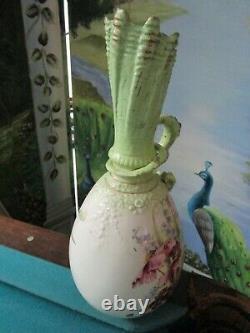 Antique German Austrian Art Nouveau Ceramic Flower Vase Dragon Handle 14
