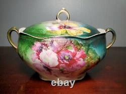 Antique German Austrian Vienna Style Hand Painted Floral Porcelain Tureen