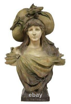 Antique Goldsheider Austrian Art Nouveau Figural Erotic Terracotta Gypsum Bust