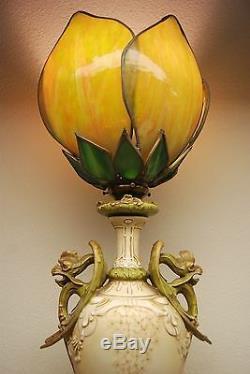 Antique Gothic Austrian Amphora Art Nouveau Griffons Porcelain Slag Glass Lamp