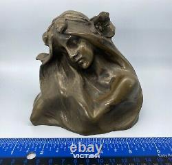 Antique H. Muller Austrian Bronze Sculpture Woman Flower Art Nouveau