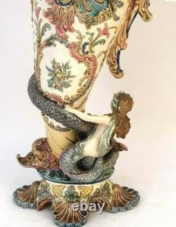 Antique Huge EICHWALD Austrian Art Nouveau Majolica Pitcher, XIX C