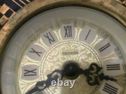 Antique Joseph Strnact JS Austria Mantel Clock Ceramic Cobalt Gold Hand Painted