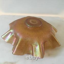 Antique Loetz Art Glass Iridescent Gold Ruffle Bowl-Art Nouveau-Austrian #2220