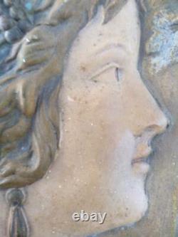 Antique Old Austria Austrian Art Nouveau Woman Lady Female Art Pottery Plaque