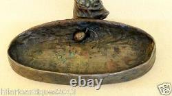 Antique P Tereszczuk Austrian Bronze Figures Tray Deep Ashtray Stand Art Nouveau