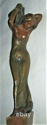 Antique P. Tereszczuk Austrian Bronze Lady Vase Art Statue Sculpture Tray Holder