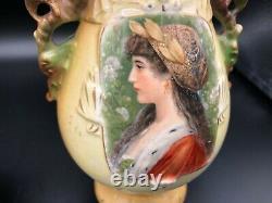 Antique Pair Austrian Robert Hanke Royal Wettina Pottery Portrait Vases, 9 Tall