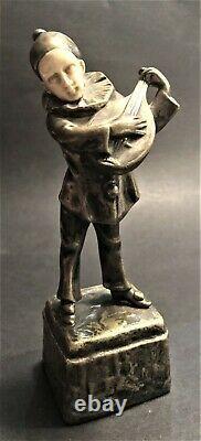 Antique Peter Tereszczuk (Austrian/Ukrainian) Bronze Pierrot Playing on Lute