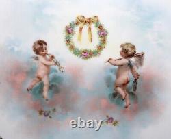 Antique Porcelain PLATE Platter Musical Angel Cherubs Signed R Saxe Austria