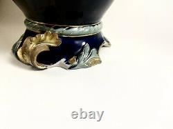 Antique ROBERT HANKE PORCELAIN DRAGON HANDLE EWER. Colbalt And Gold